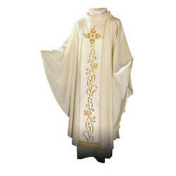 Chasuble In 100 Wool And Machine Embroidered Stole
