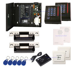 Zk Tcp/ip C3-200 2 Door Secure Access Control System Ansi Strike Lock Power Box