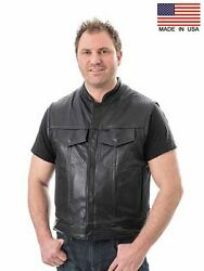 Men's Concealed Carry Leather Club And Biker Vest - Proudly Made In The Usa