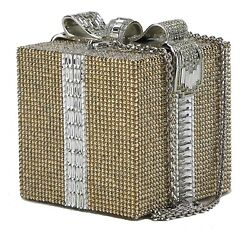 Judith Leiber Silver and Gold Swarovski Gift Clutch Bag