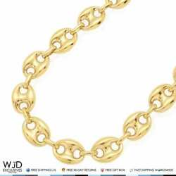 10k Yellow Gold Puffed Anchor Mariner Chain Necklace 12mm 24 Lobster Clasp