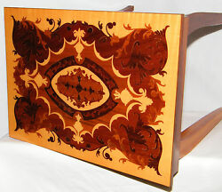 Vtg. Floral Jewelry Storage Music Box Italian Marquetry Inlaid Wood Accent Table