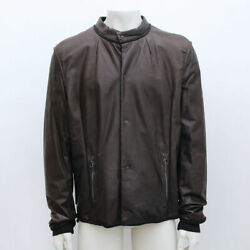 New Mens Lanvin Brown Calfskin Leather Bomber Jacket Bnwt Rrp Andpound2525