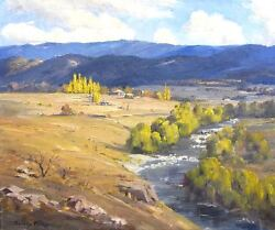 Beautiful Original Landscape Painting Mountains Summer Outback By Dudley Parker