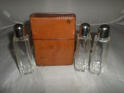 Vintage/antique Glass Scent/perfume Bottle Set- Leather Case -collectible Gift