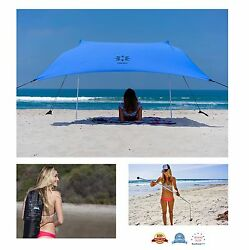 Outdoor Portable Beach Tent with Sand Anchor Canopy Sun Shelter  Carrying Bag