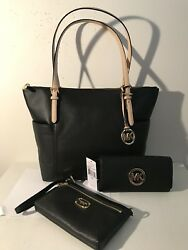 Michael Kors Black Leather Wallet MK Gold Fulton East West EW Tote Bag Wristlet