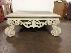 Frontgate Indoor Outdoor Square Granite Top Sofa Large Coffee Patio Table White