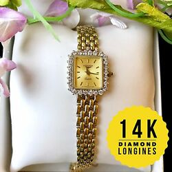 Longines Ladies 14k Solid Gold With Diamond 1 Ctw Watch Rectangle Case