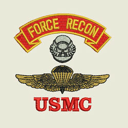 Usmc Marine Corps Force Recon Naval Parachutist Diver Badge Embroidered Shirt