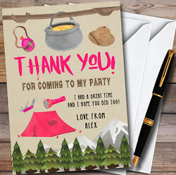 Outdoor Camping Girls Personalised Party Thank You Cards