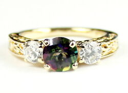 Mystic Fire Topaz W/ 2 Accents 10ky Or 14ky Gold Ladies Ring R254-handmade
