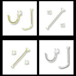 14kt Solid Gold 1.5mm Real Si Clarity Diamond Nose Ring 20g Stud Or Screw White