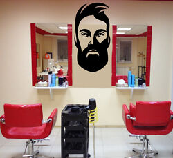 Wall Vinyl Decal Barber Shop Salon Moustache Haircut Scissors Hall Decor z4738