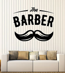 Wall Vinyl Decal Barber Shop Salon Moustache Haircut Scissors Hall Decor