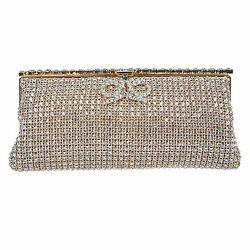 Fawziya Bow Clutch Bags For Women Clutches And Evening Bags-Gold