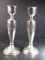Vintage .900 Silver Pair Two Candle Holders  8 No Mono