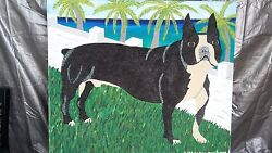 30x36 painting of Boston terrier