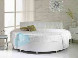 Verve 7ft6 Round Bed With Pearl Dimante Headboard 229cm Various Colours Fabrics