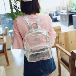 US Womens Transparent Clear Shoulder Satchel Tote School Bag Handbag Backpack $18.03