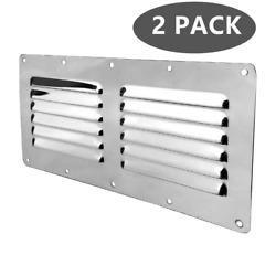 2x Stamped Louvered Vent Air Grill Cover Ventilation Louver Boat Stainless Steel