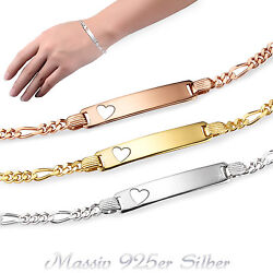 Engraving Arm Band Id Bracelet Figaro Incl. Womenand039s Girland039s 925 Silver 13-19cm