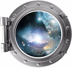 Port Scape Nebula amp; Stars Porthole 3D Space Window Wall Decal Removable Sticker