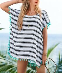 Swimsuit Cover Up And Free Himalayan Bracelet - Turquoise Tassels Usa Ships Fast