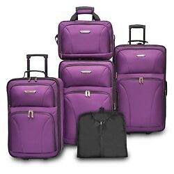 Travelers Choice Ultimate 5pc Purple Expand Luggage Tote Suitcase Travel Bag Set