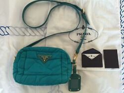 RARE Authentic PRADA turquoise blue patent leather cross-body (clutch) nylon bag
