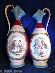 Very Old Austria Porcelain Pitchers 10-1/2in. 4 Different Scenes Bee Hive Mark