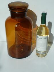 Antique Amber Glass Apothecary Jar 5000ml - Jar And Lid Ground, Circa 1910