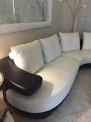 Sectional White Leather With Black Leather Base And Back. Contemporary .