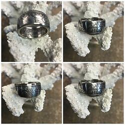 American History Quality 1921 Morgan Silver Dollar Hand Crafted Coin Ring 8 - 13
