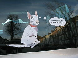 ENGLISH BULL TERRIER OR #x27;BULLIE#x27; CAR STICKER GIFT COLLECTABLE WITH WAGGING TAIL