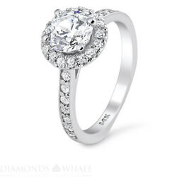 Engagement Round Diamond Ring Si1/f 1.5 Ct White Gold Accents Round Enhanced