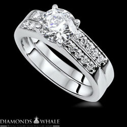 Si1/d 1.45 Tc White Gold Enhanced Round Bridal Diamond Ring Solitaire Accents