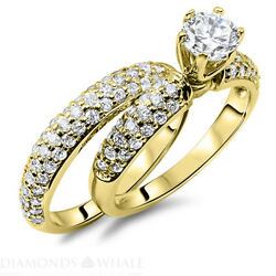 Wedding Round Enhanced Diamond Ring Solitaire Accents D/si2 0.8 Tcw Yellow Gold