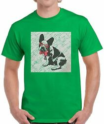 French Bulldog in a Bow Tie Shirts Tops T-shirts for Men Men's Vintage Puppy