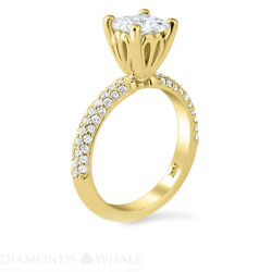 Solitaire With Accent 1.52 Tcw Diamond Enhanced Ring Yellow Gold Princess Si2/d