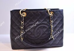 AUTH CHANEL CLASSIC BLACK CAVIAR LEATHER GST GOLD HW GRAND SHOPPERS TOTE BAG