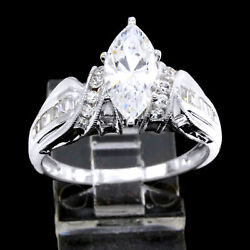 Estate 3.00 Ct Marquise Cut Simulated Diamond 14k White Gold Engagement Ring