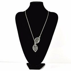 Women Girls Silver Plated Double Leaves Adjustable Pendant Necklaces
