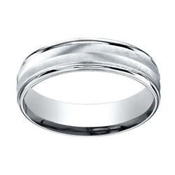 14K White Gold 6mm Comfort-Fit Chevron Design High Polished Band Ring Sz-12