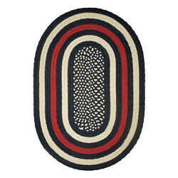Hero Firefighter Red Country Braided Area Rug By Colonial Rug-- Many Sizes