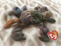 Crab Named Claude Ty Beanie Baby 1996 Rare Tag And Rare Pvc Pellets