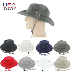 Mens Boonie Bucket Hat Cap Cotton Wide Brim Sun Outdoor Fishing Military Hunting $10.95
