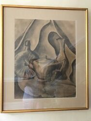 3 Vintage Charcoal Still Life Painting By James Welch. Gold Wood Frames