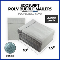 2000 0 7.5x10 Ecoswift Brand Poly Bubble Mailers Padded Envelope Dvd 7.5 X 10