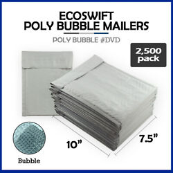 2500 0 7.5x10 Ecoswift Brand Poly Bubble Mailers Padded Envelope Dvd 7.5 X 10
